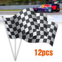 12pcs Black & White Chequered  Hand Waving Flag F1 Formula One Racing   +