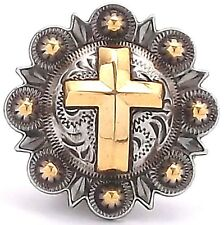 "Cross Berry Concho Antique Silver and Rose Gold 1-1/2"" 1738-31"