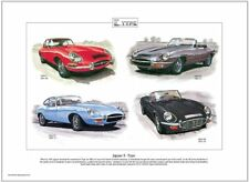 JAGUAR E-TYPE - Stampa artistica - SERIE I,II,III,XKE Roadster 2 + 2 Coupe 1 2 3
