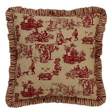 """French Country Toile Euro Cushion / Pillow Cover Cerise Pink And Tan 66cm(26"""")sq"""