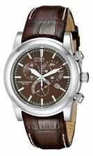Citizen Eco-Drive Men's AT0550-11X Dress Chronograph Brown Leather Band Watch