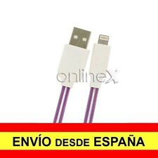 Cable Plano Valido para iPhone iPad iPod Carga-Datos Lila 1m con Luz Led a1776