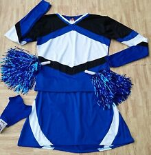 Adult Plus Real Blue Black Cheerleader Uniform Top Skirt 44-47/36-40 Cosplay New