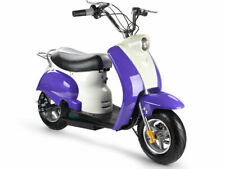 "MotoTec 24v Electric Moped Purple Kids Seat Storage 11"" Tires 15 Mph Key Horn"