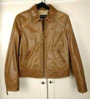 Massimo Dutti Real Goat Leather Tan Bomber Jacket Coat Size Large EU 34