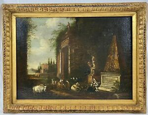 18th Century Italian Old Master Ruins Landscape Painting w/ Animals Oil / Canvas