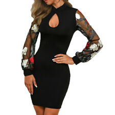 Mini Women Embroider Flutter Sleeve Floral Mesh Casual Party Sexy Bodycon Dress