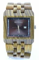 BEWELL Holzuhr Herrenuhr Datum grünes Sandelholz 44mm Top Geschenk Armbanduhr