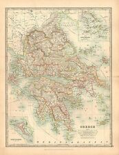 1911 LARGE VICTORIAN MAP ~ GREECE ~ CYCLADES CORFU PAXO