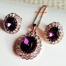 Silver Purple Amethyst Birthstone Bridal Set Made With Swarovski Crystal 252IE46
