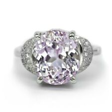 Gorgeous! 9.26ct Natural Light Pink Kunzite Ring With Zircon in Sterling Silver