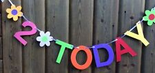 GIRLS 2nd BIRTHDAY BANNER PARTY BUNTING MULTI COLOUR