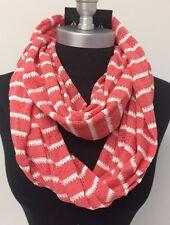 Women Fashion simple 2-Circle Knit Cowl Long Infinity Scarf Wrap NEW Peach/White