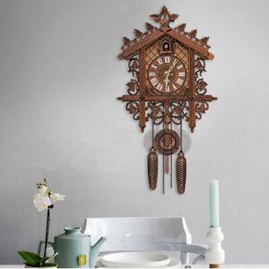 Antique Wooden Cuckoo Wall Clock w/ Pendulum for Bedroom Living Room Decoration