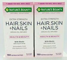 2 Nature Bounty Hair Skin Nail Extra Strength Argan Oil & Biotin 150 Softgels ea