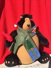 Black Bear Santa Claus Weighted Bottom Doorstop Table Sitter Hearth Cabin Woodsy