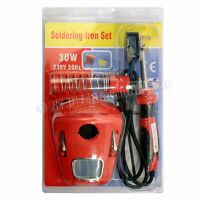 30W SOLDERING IRON KIT SET STAND 1.3M CABLE WIRE SPONGE 240V WATT