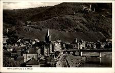 Bernkasstel Kues an der Mosel Postkarte ~1930/40 Teilansicht Mosel Brücke Burg