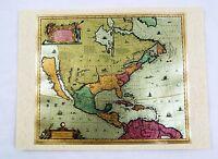 Vintage 1970's 17th Century America Septentrionalis Map Color Foil Etch Print