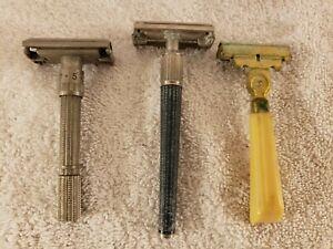Vintage Lot 3 Safety Razors; Gillette Adjustable, Gillette Slim Twist, Eversharp