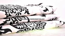 Black & White Floral Printed Cotton Fabric Indian Craft Voile Fabric By 5 Yards