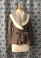 Anthropologie Sherpa Collar Wrap Cardigan Sweater Jacket Size Medium Brown Wool