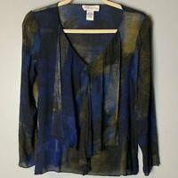 Doncaster Women's Top Size 4 100% Silk V-Neck Long Sleeves Blue Black Gold