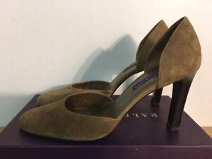 NEW Ralph Lauren GINERVA Suede Light Brown Heels Size 8.5 B Made Italy $495