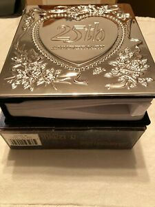 """-NEW- Silverplated 25th Anniversary Crown Court Photo Album Holds 100 4""""x6"""" Blue"""