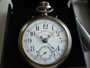 Rare montre gousset ancienne régulateur réveil à sonnerie, fonctionne,68 mm