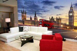 London Double Deck Bus Parliament Big Ben Wallpaper Wall Mural Home Decoration