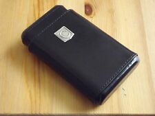 Monogram Personalized Black Leather 4 Finger Cigar Case Cedar Lining Initial C
