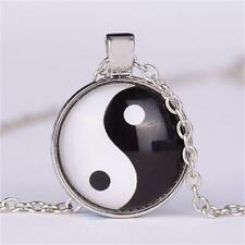 Ying&Yang Cat Eye Cabochon taiji eight diagrams glass pendant necklace Men Woman