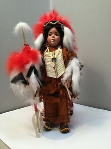 """Vintage Porcelain """"Blazing Sun"""" Native American Chief Doll made by Cindy Shaffer"""
