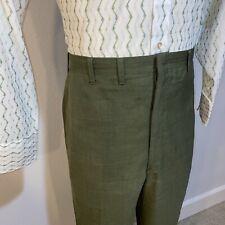 Vtg 50s 60s Olive Haggar Slacks Dress Pants Mid Century Forever Prest Mens 35 30