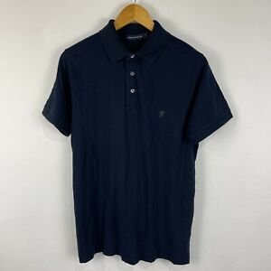 French Connection Mens Polo Shirt Size L Large Slim Blue Short Sleeve 211.09