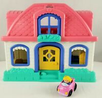 EXC COND ~ Fisher Price Little People Sweet Sounds Dollhouse Play Set & Car  1B