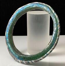 ANCIENT ROMAN GREEN GLASS BRACELET 1ST-2ND CENT A.D. NICE IRIDESCENCE!!