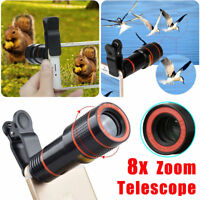 Black 8x Optical Zoom Clip-on HD Telescope Camera Lens For Mobile Phone