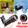 For Universal Mobile Phone Clip-on 8x Optical Zoom HD Telescope Camera Lens New