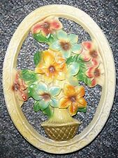 """Vintage Chalkware Oval Cut Out Wall Plaque with Vase of Flowers 9"""" X 12"""""""
