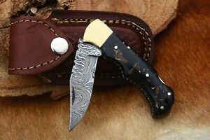 MH KNIVES RARE CUSTOM DAMASCUS STEEL FOLDING/POCKET KNIFE BACK LINER LOCK MH-23