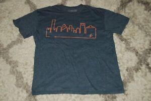 Outline the Sky Men's XL Houston Texas skyline t-shirt heather blue gray soft!
