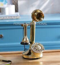 Vintage look handmade WORKING Landline Candlestick BRASS Telephone Free Postage