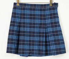 Rifle Skirt School Uniform 16 1/2 White Blue Plaid Pleated Adjustable Back