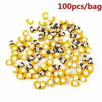 100Pcs Mini Wooden Craft Mixed Bumble Bee Self Adhesive Stick on Card Toppers UK