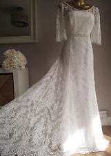 MONSOON IVORY LACE PEARL BEADED EMBELLISHED CARLOTTA MAXI WEDDING DRESS 16 £299