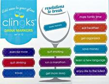CLINGKS Glass Drink Markers Clings New Years Resolutions to Break Wine Charm NEW