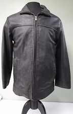 WILSON LEATHER M. JULLIAN COAT QUILTED FULL ZIP DISTRESSED BLACK MEN'S S EUC
