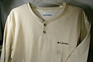 Columbia Omni-Wick Tan Color Long Sleeve 2 Button Shirt Men's Size Large NWT